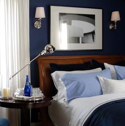 "Blue + white bedroom: Benjamin Moore ""Starry Night Blue"""