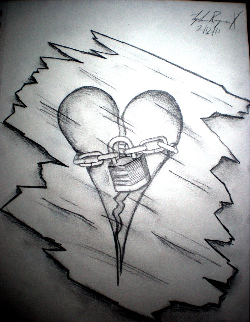 Unavailable Punklike Tags Art Ice Broken Pencil Sketch Heart Drawing Lock Chain