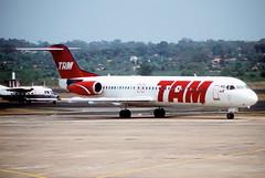 321ao - TAM Fokker 100; PT-MRT@ASU;24.9.2004