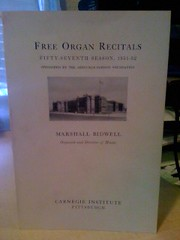 Image for Free Organ Recitals: Fifty-Seventh Season, 1951-52 by Bidwell, Marshall