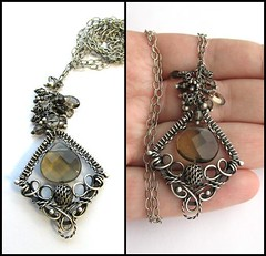 smokey quartz silver necklace