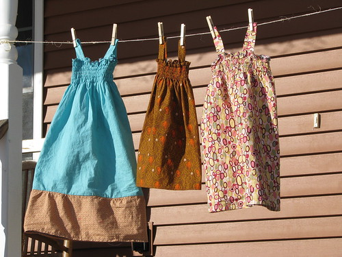 Three shirred dresses