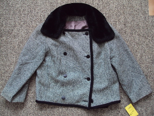 Vintage Cropped Jacket with Fur Collar