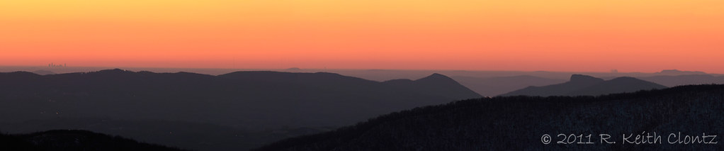 Sunrise Panorama with Charlotte, Hawksbill, Table Rock and Crowders Mountain
