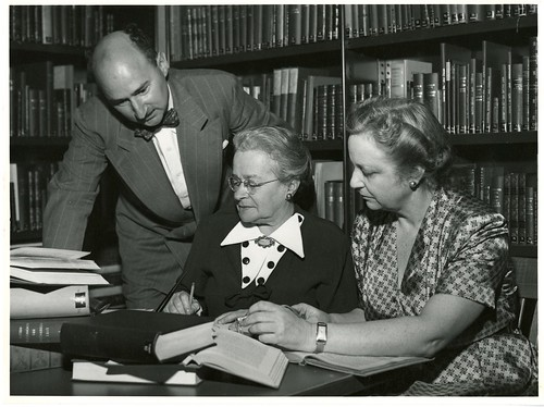 (left to right): Henry Remak, Mrs. Leser , and Cornelia V. Christenson