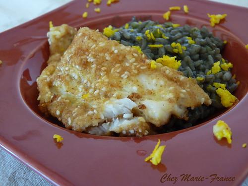 Filet de sabre et risotto encre de seiche
