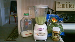 Ingredients for my Green Monster, a great work out recovery drink!