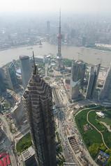 Pudong from the SWFC (belgobreizh) Tags: china shanghai  pudong avril 2009 worldfinancialcenter chine jinmaotower huangpu orientalpearltower   swfc kohnpedersenfox
