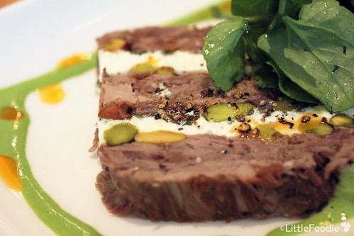 Warm lamb and goat cheese terrine