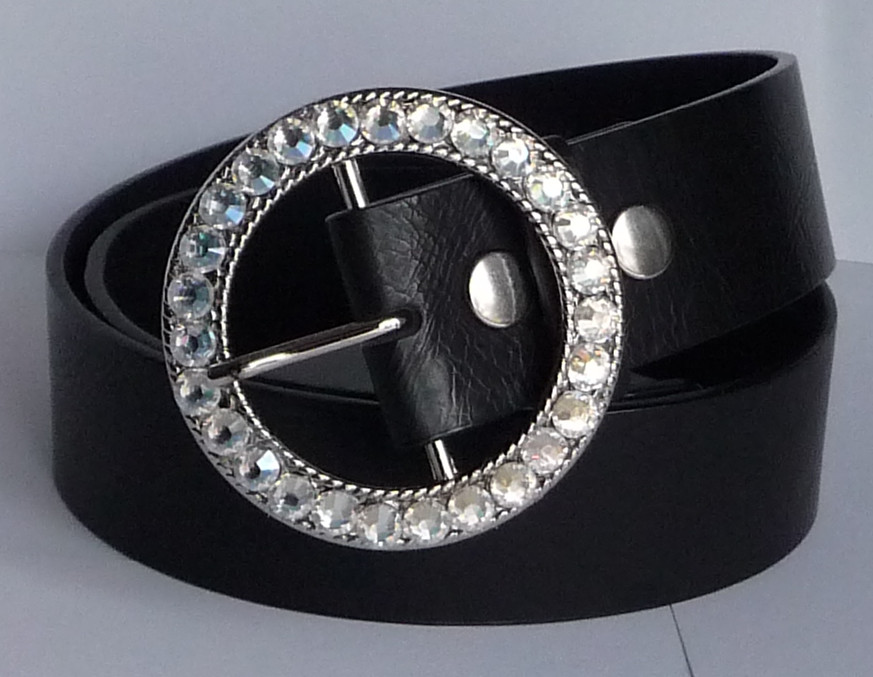 Women's Silver Belt Buckle (Snap On) Customized with 'Crystal Moonlight' Swarovski Crystal Rhinestones by Angel Grace