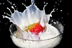 Strawberry on Milk (+1 in comment) (jhames808.com) Tags: glass milk strawberry nikon flash sb600 martini splash speedlight d90 strobist jhames808 jhamesphotography henryaguilarakajhames808