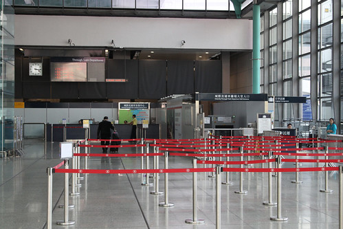 Border control checkpoint at Hung Hom station for Through Train passengers