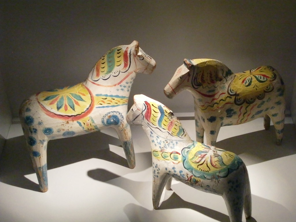 The exhibition of Dala horses in Dalarnas Museum in Falun