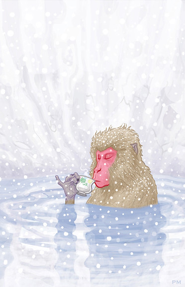 Japanese Snow Monkey Drinking Hot Tea by Patrick-McQuade 11x17-print (Proceeds to Japanese RED CROSS)