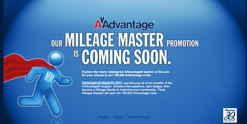 Screenshot of Mileage Master Promotion page