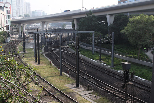 Tracks departing Hung Hom station