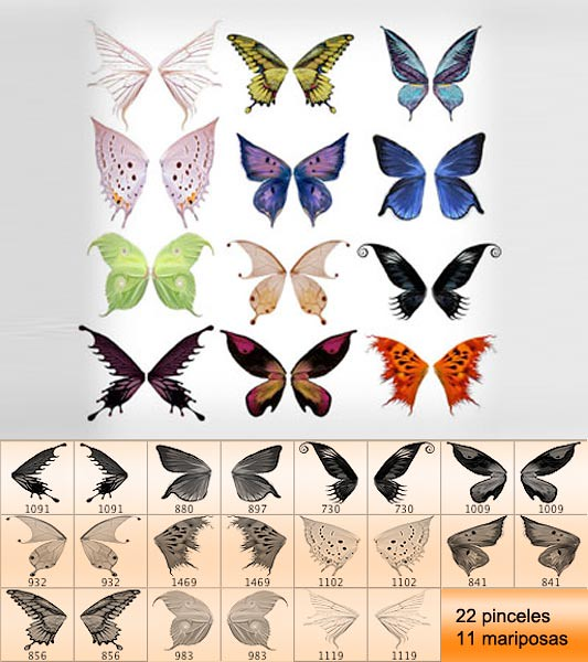 Brushes de mariposas para descargar gratis