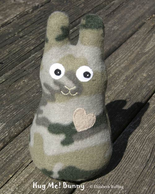 Hug Me Camo Bunny, Original Art Toy by Elizabeth Ruffing, in camouflage fleece