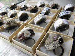 Pincushion rings, Boxed and Waiting for pins. (Wychbury Designs) Tags: uk bronze vintage handmade lace alice sewing pins medieval ring rings button pearl pincushion etsy cushion hatter folksy jacobean