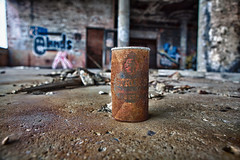 A Cold One (Rudy Malmquist) Tags: auto plant color abandoned beer rust floor michigan detroit cement rusty automotive can rusted facility hdr packard manufacturing strohs
