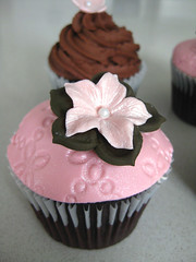 Pearly pink petunia cupcake (ilovechrissycakes) Tags: birthday pink baby brown cup girl cake shower quebec blossom chocolate pearl hudson petunia bridal custom embossed fondant stlazare buttercream gumpaste