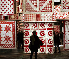 Infinite Variety, Three Centuries of Red and White Quilts. (NYC-Man) Tags: nyc newyorkcity red white museum manhattan quilts redandwhite americanfolkartmuseum parkavenuearmory 650quilts