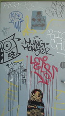 doorway (look in the SKY) Tags: california ca monster graffiti oakland bay lets area mung 2011