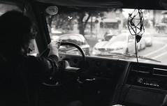 Finkmobile I (Magnus Bergstrm) Tags: canonae1 canon ae1 analog bw blackwhite blackandwhite kodak kodaktmax100 kodaktmax tmy 100tmx sweden sverige vrmland karlstad van punk tattoo driver cables stereo road trip roadtrip