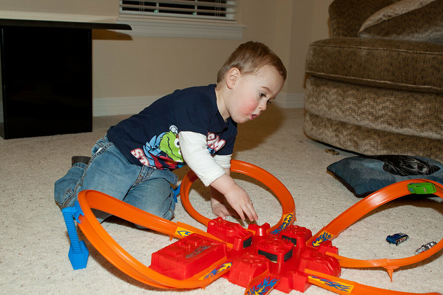 Loving his Hot Wheels track