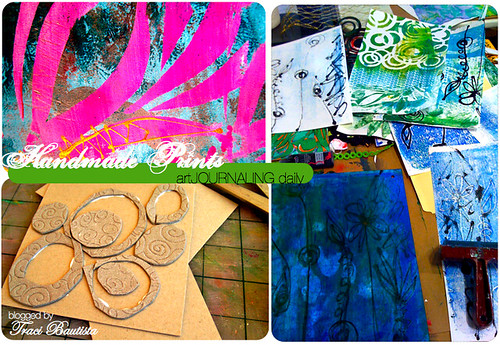 grunge board handmade stamp, acrylic sheet monoprints