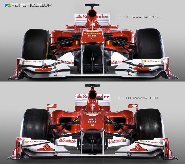 Ferrari F150 v F10 F1 Cars Front Comparison