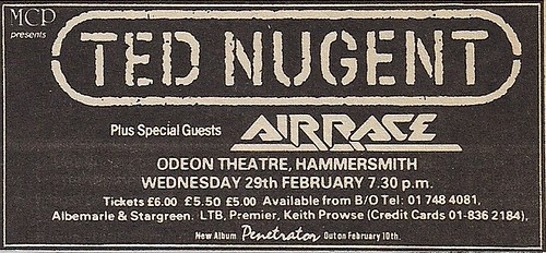 02/29/?? Ted Nugent/Airrace @ Hammersmith Odeon, London, England (ad)