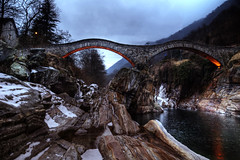 The double arch stone bridge (Christian Merk) Tags: old trees light sky mountain mountains tree church nature water rock clouds river landscape geotagged photography switzerland photo ticino nikon photos christian lavertezzo merkchristianmerksmugmugcom