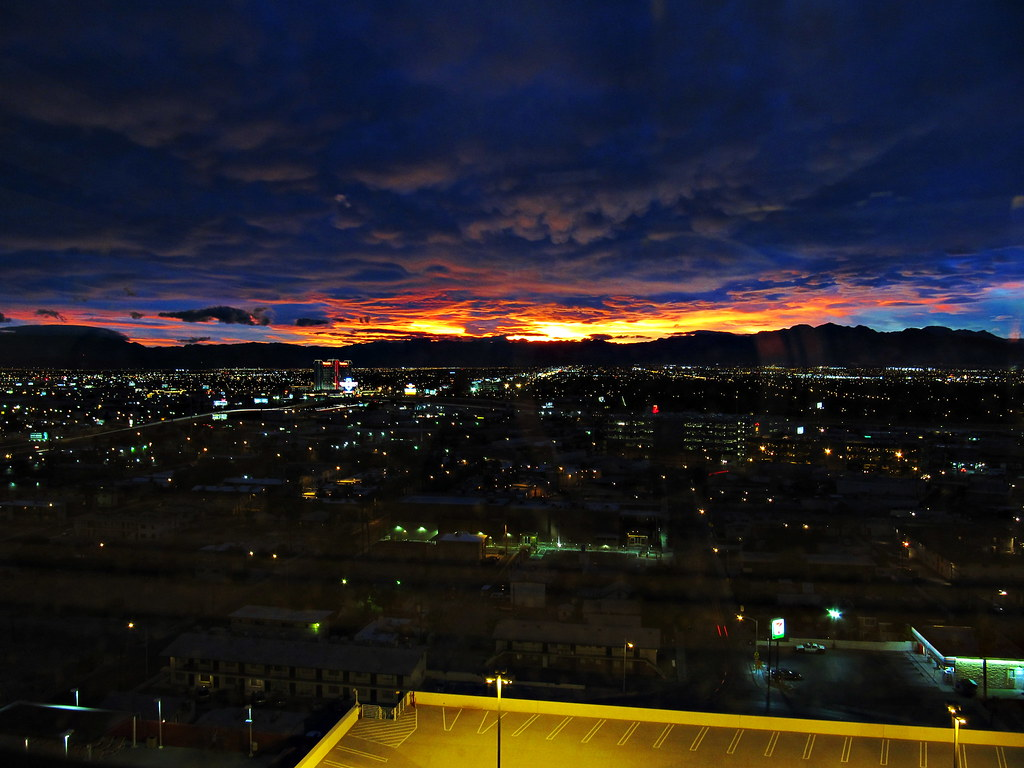 Sunset in Las Vegas taken from room in Stratosphere Tower Hotel and Casino Resort