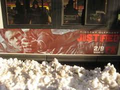 Justified 2997 (Brechtbug) Tags: show street new york city nyc snow bus hat television modern poster for us tv cowboy gun action cable billboard crime western type series writer shooting sheriff timothy script fx leonard avenue 9th drama marshal 42nd detective givens elmore lawman justified raylan olyphant 1312011