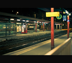 S t a t i o n (Joffrey Guidon) Tags: winter light france station architecture night train automne french 50mm gare pentax sweet bokeh lumire hiver lifestyle f2 chambry tones nuit k5 sncf joffrey guidon