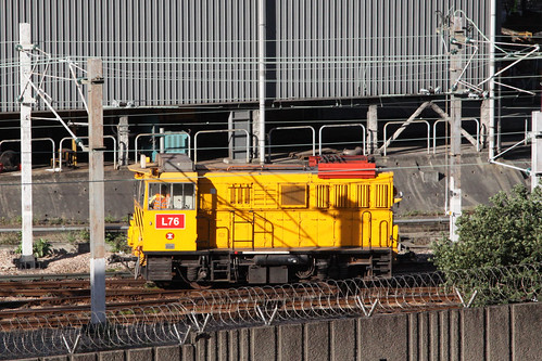 MTR battery-electric loco L76 shunting at Kowloon Bay depot