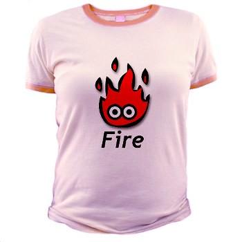 Women's Ringer T-Shirt in Pink - Fire