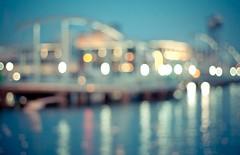 Blue Hour in Blur (Irene Ruscalleda) Tags: barcelona street city urban blur port puerto calle dof bokeh bcn ciudad desenfoque urbano barcelone maremagnum urbe portvell