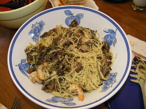 Pasta with Mushrooms and Shrimp