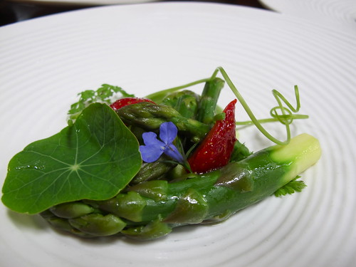 Asparagus, broccoli, pickled strawberries, coriander, honey