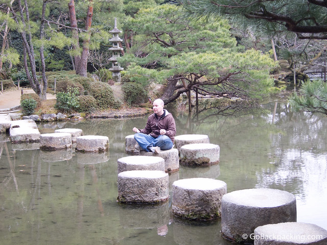 Meditating in the gardens of Heian Shrine