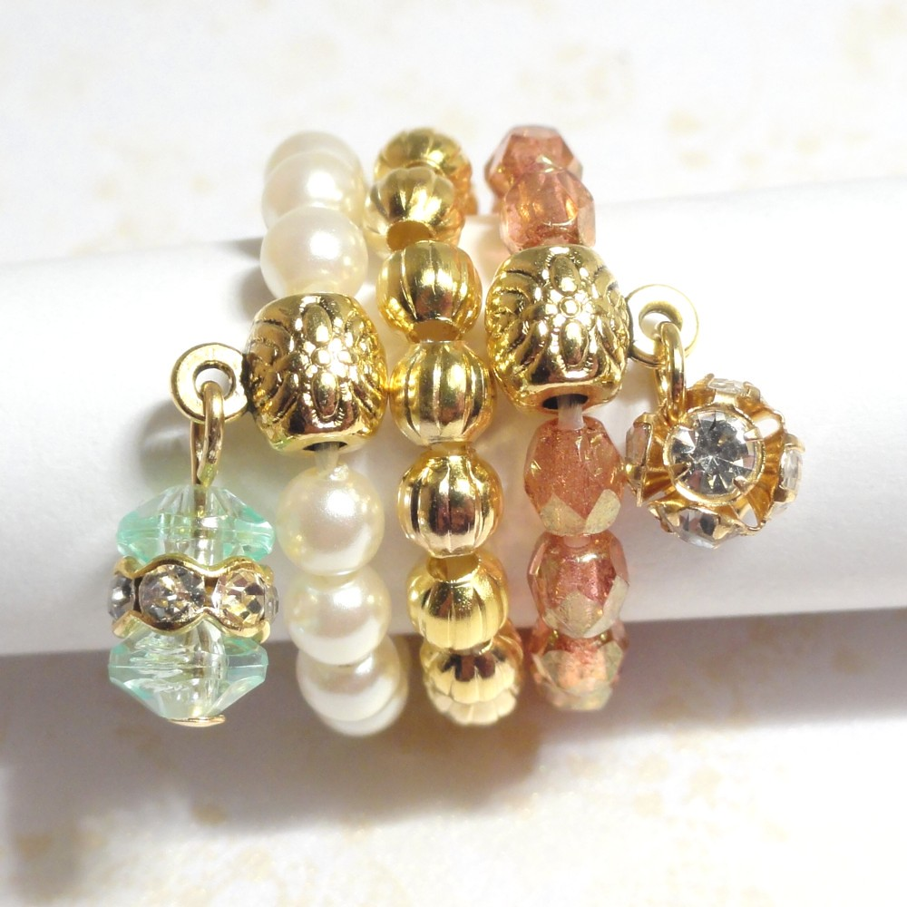 Stackable Rings - Gold, Orange and White - Soft Sunset