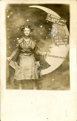Getting Up in the World, Paper Moon RPPC (depthandtime) Tags: old original woman vintage stars star antique postcard iowa novelty backdrop damaged foundphoto papermoon muscatine foundimage rppc realphoto ednamartz gettingupintheworld