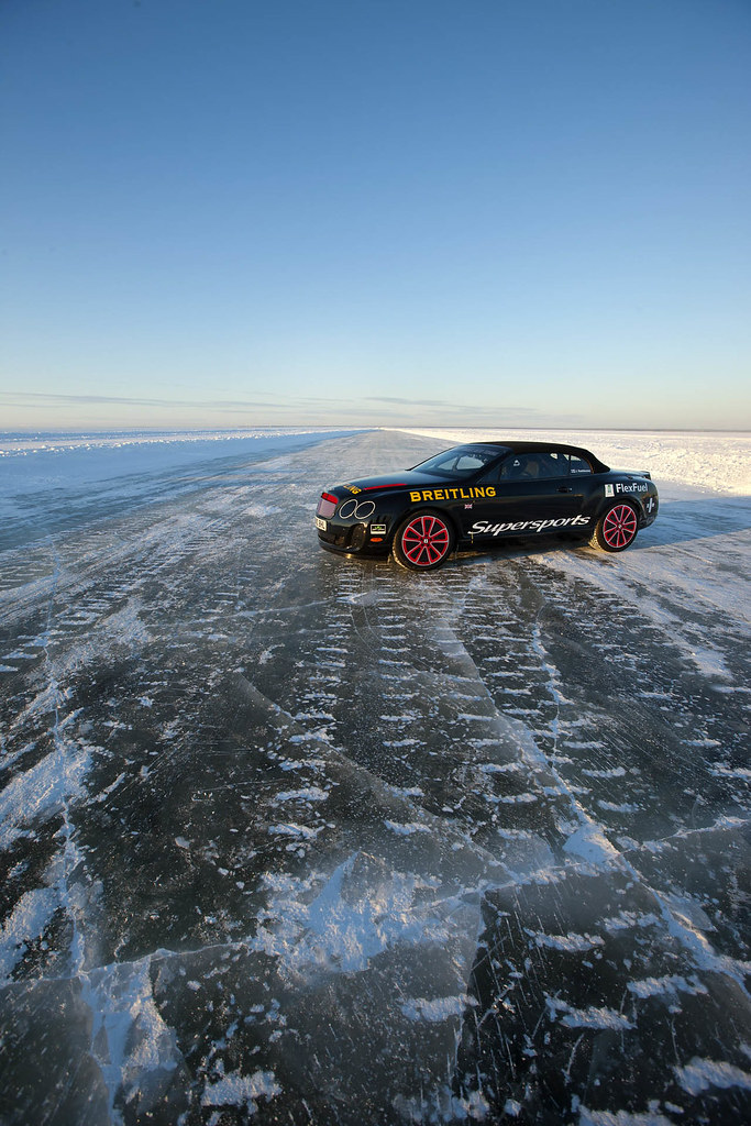 Bentley Continental Supersports convertible on Ice with Pirelli SottoZero II 275/40R20 winter tires set world record