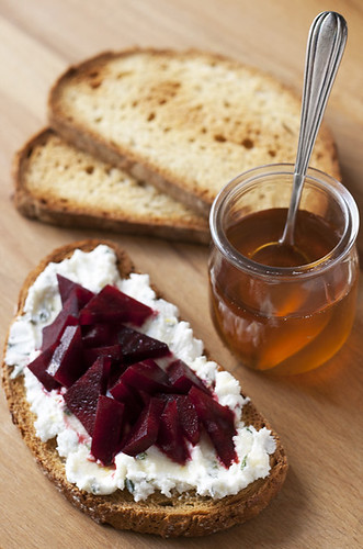 Honey Drizzled Beets with Lemon-Tarragon Goat Cheese Tartines