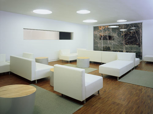 Room with white furniture inside Student Centre, Erindale College