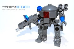 "Type 29 Mecha ""Behemoth"" (r. Randomness) Tags: army robot war gun technology lego head space military united battle prototype weapon dome future stealth fi enforcement pew futuristic nations sci mecha mech destroy lug invincible hardsuit brickarms lightsuit"
