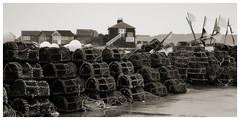 Lobster Pots (Full Moon Images) Tags: beach coast fishing harbour flag flags huts pots hut dorset lobster jurassic