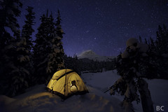 Frozen. (Ben Canales) Tags: longexposure blue camping trees winter wild camp sky mountain snow mountains cold tree ice nature rock night oregon forest dark stars outdoors star tents twilight woods nw northwest wind hiking snowy space country meadows deep trails tent hike hills trail galaxy backpacking nebula cascades mthood backpack pacificnorthwest backcountry wilderness universe camper starry cosmos tentatnight tenting plume snowcoveredtrees milkyway cascademountains pacnw glowingtent newtoncreek pcnw gettingawayfromitall widefieldastrophotography landscapeastrophotography bencanales staticstarphoto staticstars
